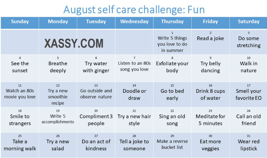 30 day self care challenge for women
